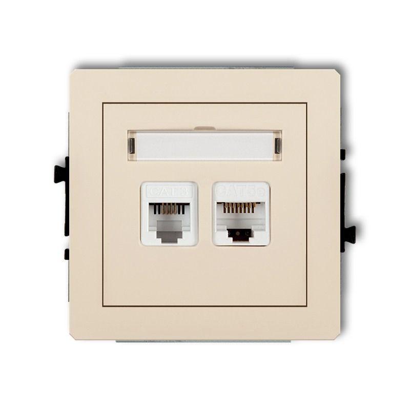 Gniazda-telefoniczne - beżowe gniazdo telefoniczne rj11+komputerowe rj45 1dgtk deco karlik firmy Karlik