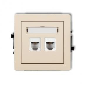 Gniazda-telefoniczne - gniazdo telefoniczne rj11 beżowe podwójne 1dgt-2 deco karlik