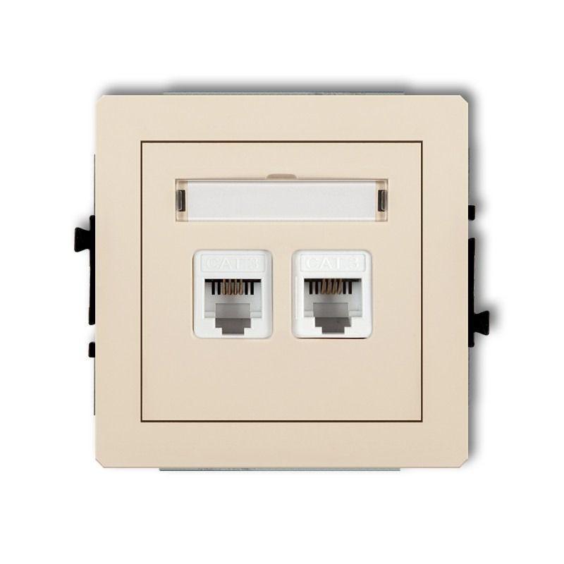 Gniazda-telefoniczne - gniazdo telefoniczne rj11 beżowe podwójne 1dgt-2 deco karlik firmy Karlik