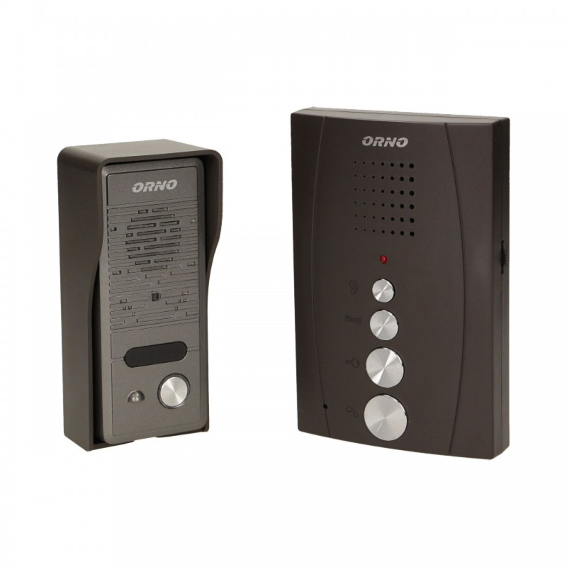 Domofony - zestaw domofonowy jednorodzinny, bezsłuchawkowy, eluvio, czarny firmy ORNO