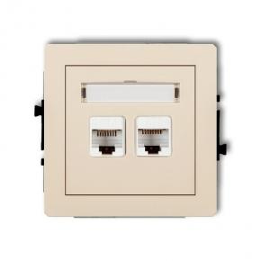Gniazda-komputerowe - podwójne gniazdo komputerowe rj45 beżowe 5e 1dgk-2 deco karlik