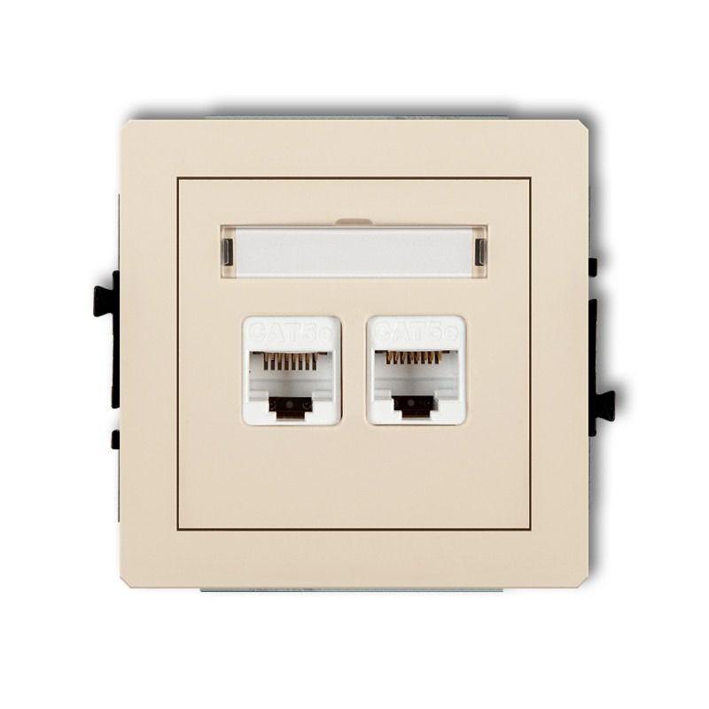 Gniazda-komputerowe - podwójne gniazdo komputerowe rj45 beżowe 5e 1dgk-2 deco karlik firmy Karlik