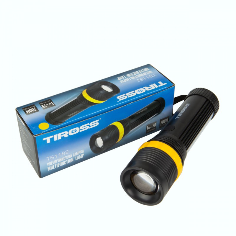 Lampki-nocne - latarka kempingowa led ts-1182 zoom 1w+20led 3xaaa tiross firmy TIROSS