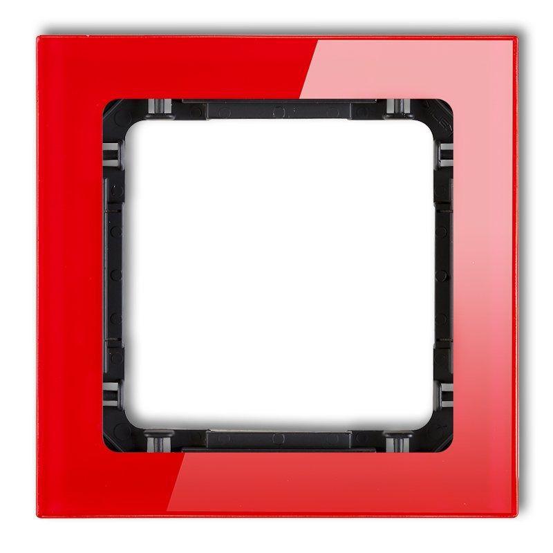 Ramki-pojedyncze - ramka czerwona/czarna z efektem szkła 17-12-drs-1 deco karlik firmy Karlik