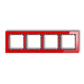 Ramki-poczworne - ramka z efektem szkła poczwórna czerwona/grafit deco karlik