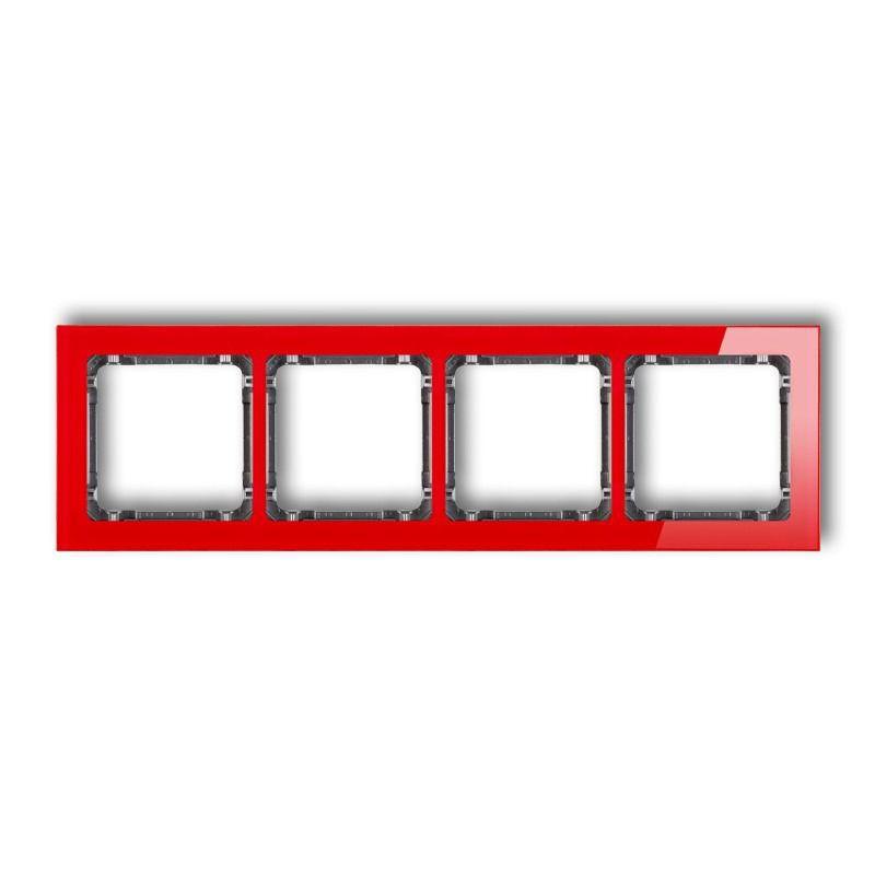 Ramki-poczworne - ramka z efektem szkła poczwórna czerwona/grafit deco karlik firmy Karlik
