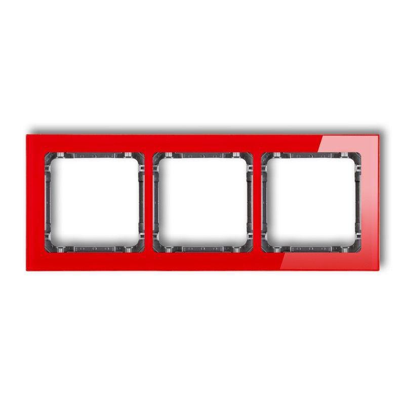 Ramki-potrojne - potrójna ramka czerwona grafitowa z efektem szkła 17-11-drs-3 deco karlik firmy Karlik