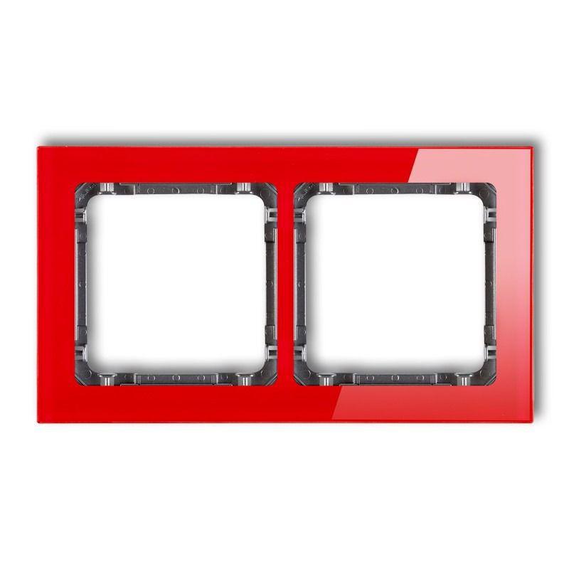 Ramki-podwojne - czerwona/grafitowa ramka podwójna efekt szkła 17-11-drs-2 deco karlik firmy Karlik
