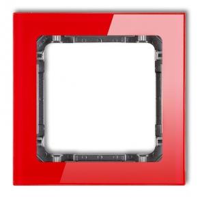 Ramki-pojedyncze - pojedyncza ramka instalacyjna czerwona/grafit z efektem szkła 17-11-drs-1 deco karlik