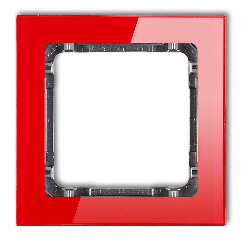 Ramki-pojedyncze - pojedyncza ramka instalacyjna czerwona/grafit z efektem szkła 17-11-drs-1 deco karlik firmy Karlik