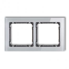 Ramki-podwojne - szara/grafitowa ramka podwójna z efektem szkła 15-11-drs-2 deco karlik
