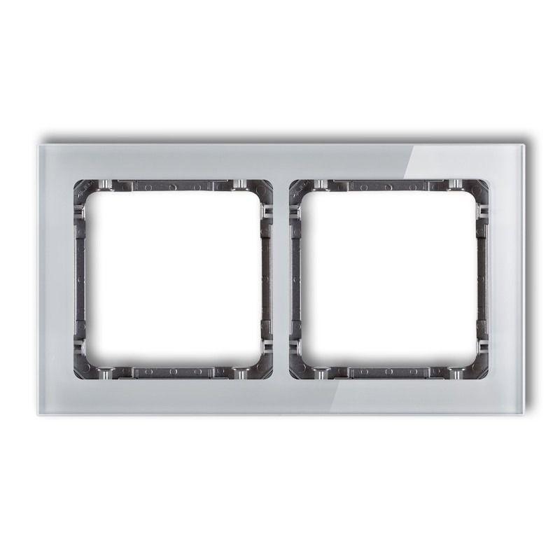 Ramki-podwojne - szara/grafitowa ramka podwójna z efektem szkła 15-11-drs-2 deco karlik firmy Karlik