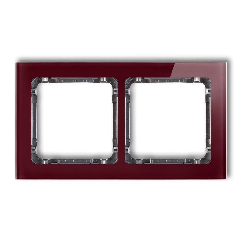 Ramki-podwojne - ramka podwójna efekt szkła bordowa/grafit 14-11-drs-2 deco karlik firmy Karlik