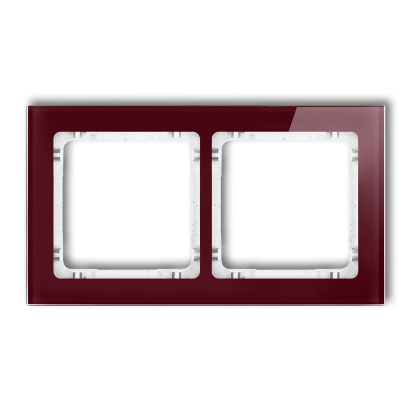 Ramki-podwojne - podwójna ramka bordowa/biała efekt szkła 14-0-drs-2 deco karlik firmy Karlik