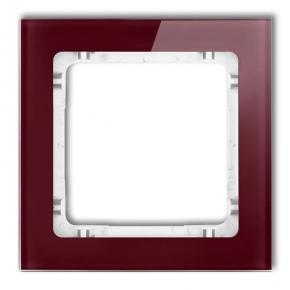 Bordowa/biała ramka pojedyncza z efektem szkła 14-0-DRS-1 DECO KARLIK