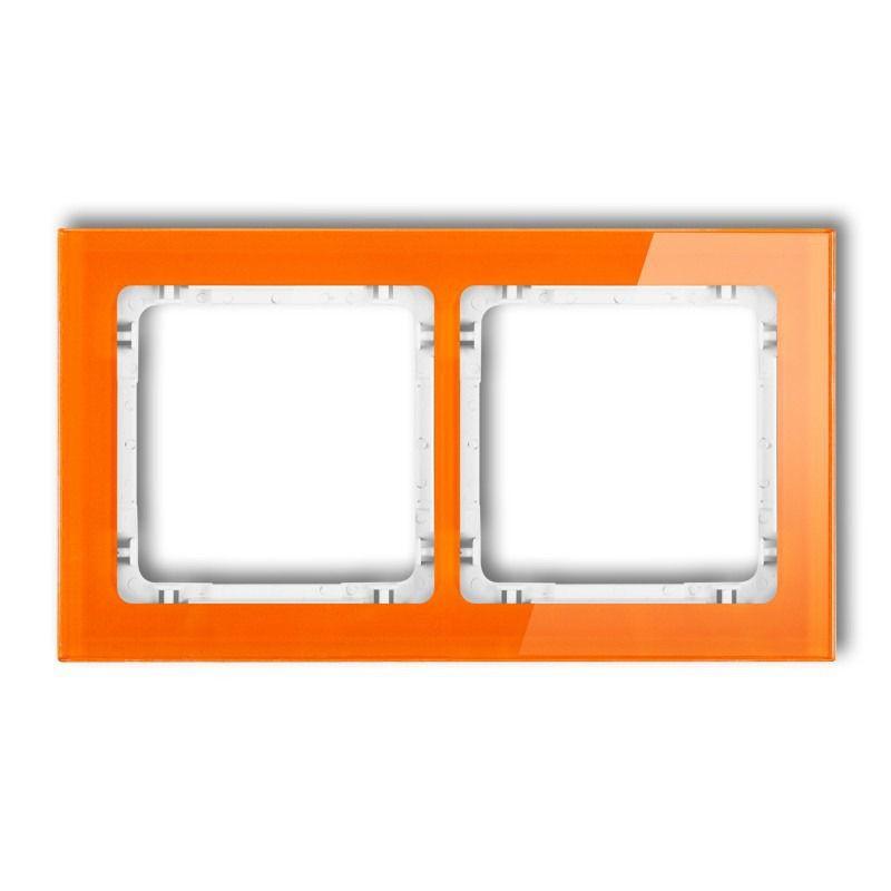 Ramki-podwojne - podwójna ramka pomarańczowa/biała z efektem szkła 13-0-drs-2 deco karlik firmy Karlik