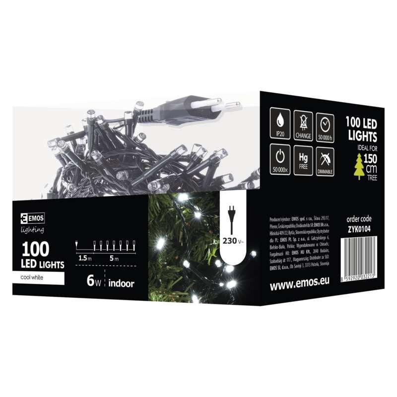 Oswietlenie-choinkowe - lampki choinkowe 5m zimne światło 100xled 6w ip20 led zyk0104 emos firmy EMOS