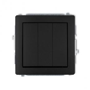 Czarny matowy włącznik potrójny 12DWP-7 DECO KARLIK