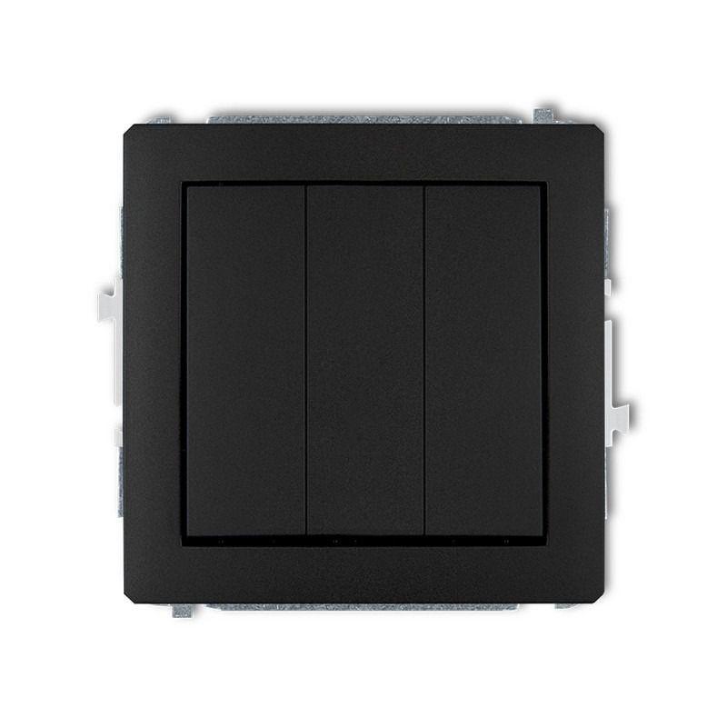Wylaczniki-potrojne - czarny matowy włącznik potrójny 12dwp-7 deco karlik firmy Karlik