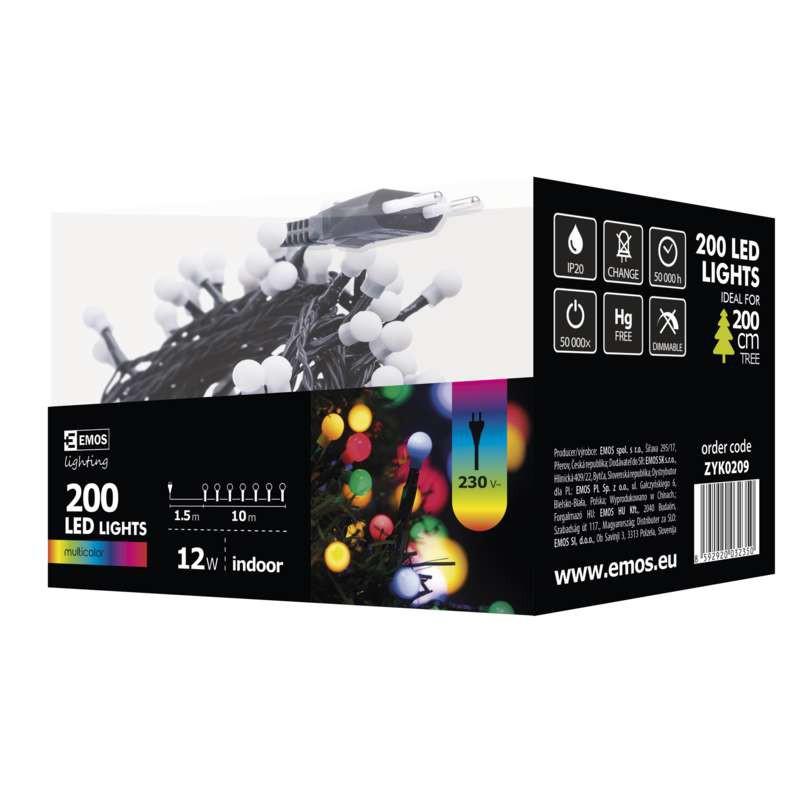 Oswietlenie-choinkowe - kolorowe oświetlenie choinkowe kulki 10m 200xled 12w ip20 zyk0209 emos firmy EMOS