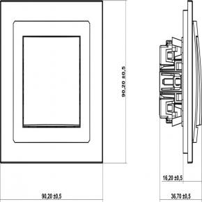 Włącznik krzyżowy czarny mat 12DWP-6 DECO KARLIK