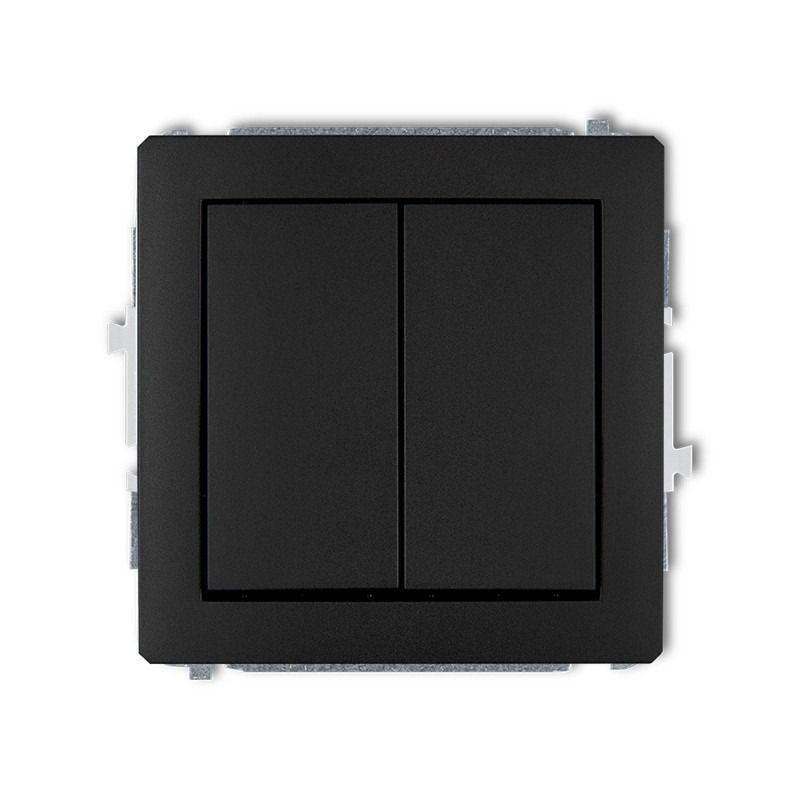 Wylaczniki-podwojne - włącznik zwierny podwójny czarny matowy 12dwp-44.2 deco karlik firmy Karlik