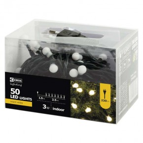 Oswietlenie-choinkowe - lampki choinkowe kulki ciepły biały 2,5m 50xled 3w ip20 zyk0202 emos