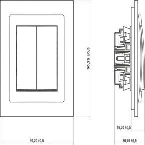 Wylaczniki-podwojne - włącznik zwierny podwójny czarny matowy 12dwp-44.2 deco karlik