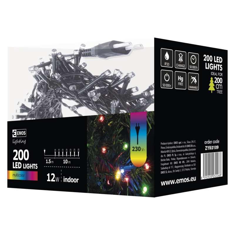 Oswietlenie-choinkowe - kolorowe lampki na choinkę 10m 200xled 12w ip20 zyk0109 emos firmy EMOS