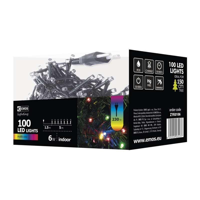 Oswietlenie-choinkowe - koorowe lampki choinkowe łańcuch 5m 100xled 6w ip20 zyk0106 emos firmy EMOS