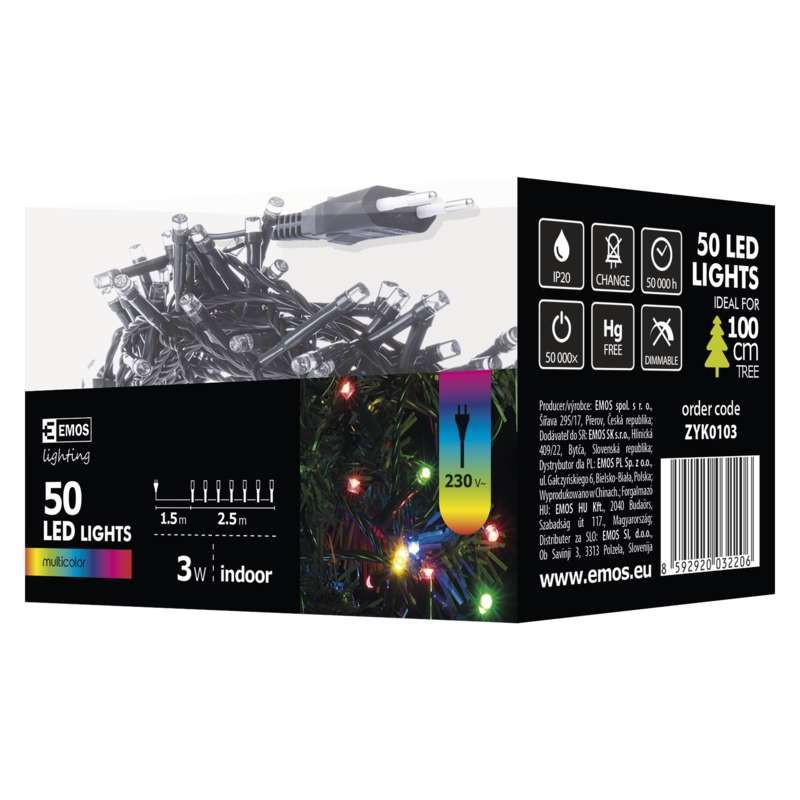 Oswietlenie-choinkowe - krótkie kolorowe lampki choinkowe 2,5 m 50xled 3w ip20 zyk0103 emos firmy EMOS
