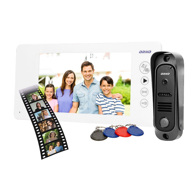 Wideodomofony - zestaw wideodomofonowy biały arcus rfid 7 or-vid-js-1053/w orno firmy ORNO