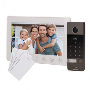 Wideodomofony - zestaw wideodomofonowy z szyfratorem i czytnikiem kart biały numerus 7 orno