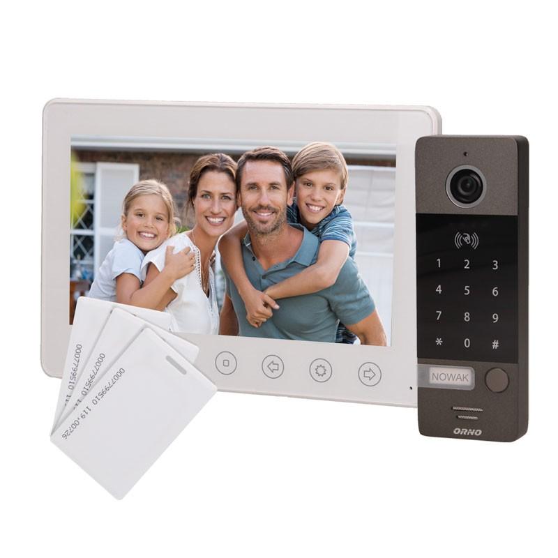 Wideodomofony - zestaw wideodomofonowy z szyfratorem i czytnikiem kart biały numerus 7 orno firmy ORNO