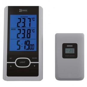 Termometry-i-stacje-pogodowe - termometr bezprzewodowy z podświetlanym wyświetlaczem na baterie szary 60m e0107 emos
