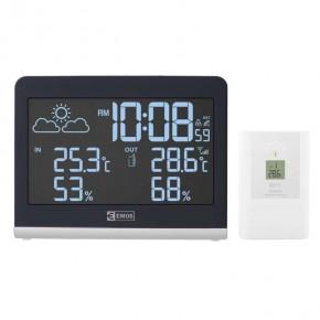 Termometry-i-stacje-pogodowe - bezprzewodowa stacja pogodowa na baterie biała z zegarem dcf e8468 emos