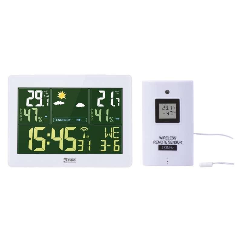 Termometry-i-stacje-pogodowe - stacja pogodowa biała bezprzewodowa z czujnikiem 50m e5062 emos firmy EMOS