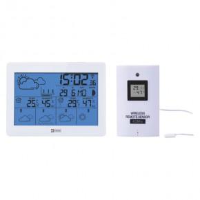 Termometry-i-stacje-pogodowe - biała stacja pogodowa z podświetlanym wyświetlaczem na niebiesko na baterie e5068 emos