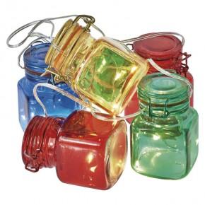 Oswietlenie-choinkowe - świąteczny dekoracyjny łańcuch świetlny kolorowe słoiczki z timerem na baterie 18xled 3xaa zy2132 emos