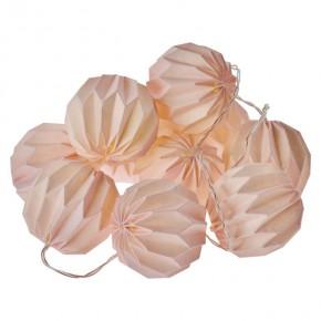 Oswietlenie-choinkowe - girlanda świąteczna różowe kule papierowe na baterie z timerem 10xled zy2127 emos