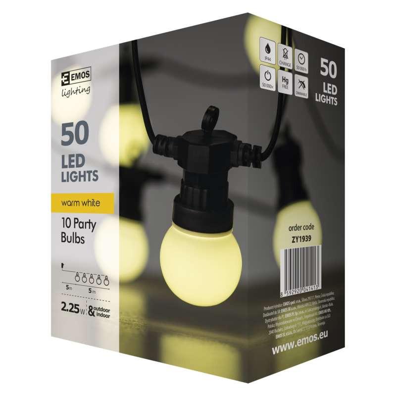 Oswietlenie-choinkowe - girlanda świetlna led mleczne żaróweczki 5m ip44 10x5led 2,25w zy1939 emos firmy EMOS