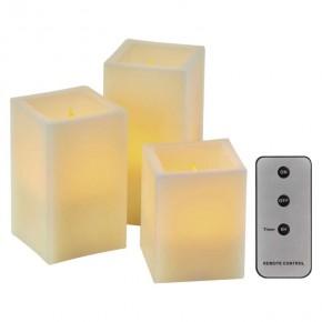 Oswietlenie-choinkowe - świąteczne dekoracyjne świeczki led kwadratowe na baterie z pilotem i timerem 9xaaa zy2142 emos