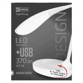 Lampki-biurkowe - biała lampka na biurko led z portem usb 4,5w 4000k 15xled z7596w emos