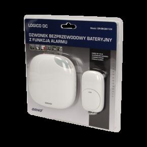 Dzwonki-do-drzwi-bezprzewodowe - dzwonek bezprzewodowy bateryjny z learning system i funkcją alarmu logico dc or-db-qm-124 orno