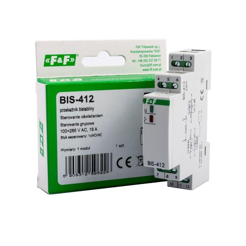 Przekazniki-bistabilne - bis-412 elektroniczny przekaźnik impulsowy grupowy hotelowy f&f firmy F&F
