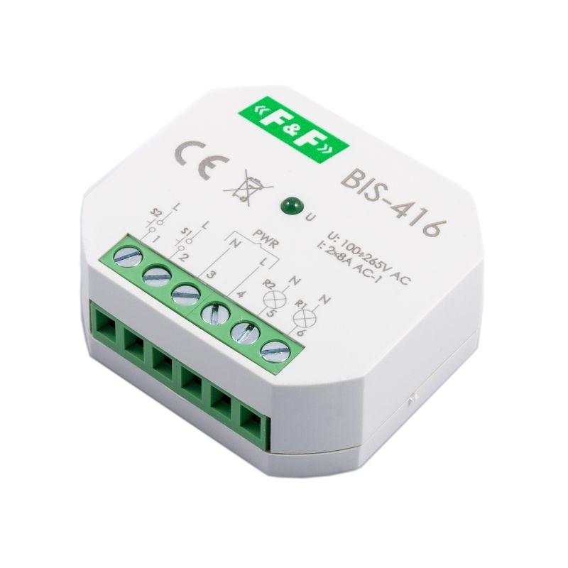 Przekazniki-bistabilne - bis-416 przekaźnik impulsowy 2 kanałowy on/off 230v 2x8a styki 2z p/t f&f firmy F&F