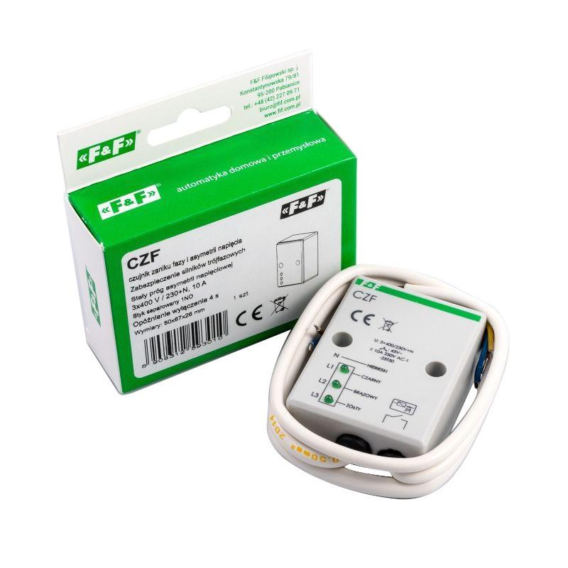 Przekazniki-kontroli-faz - czf f&f czujnik zaniku fazy i asymetrii napięcia z przewodem przyłączeniowym firmy F&F