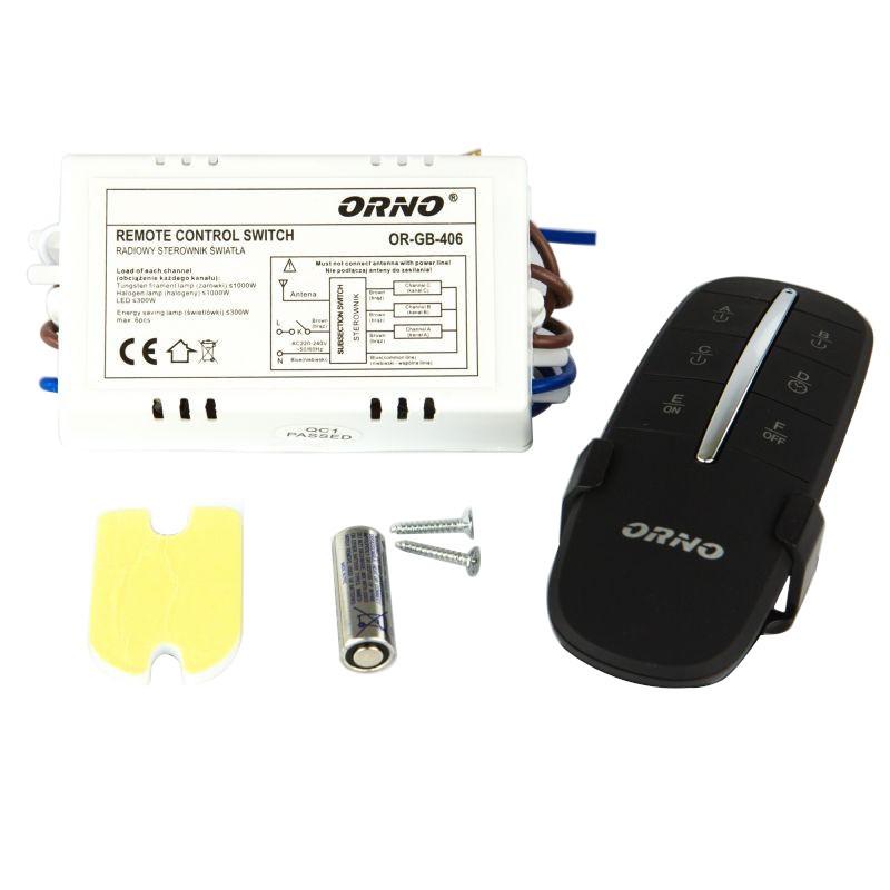 Sterowanie-oswietleniem - bezprzewodowy sterownik oświetlenia 3-kanałowy or-gb-406 orno firmy ORNO