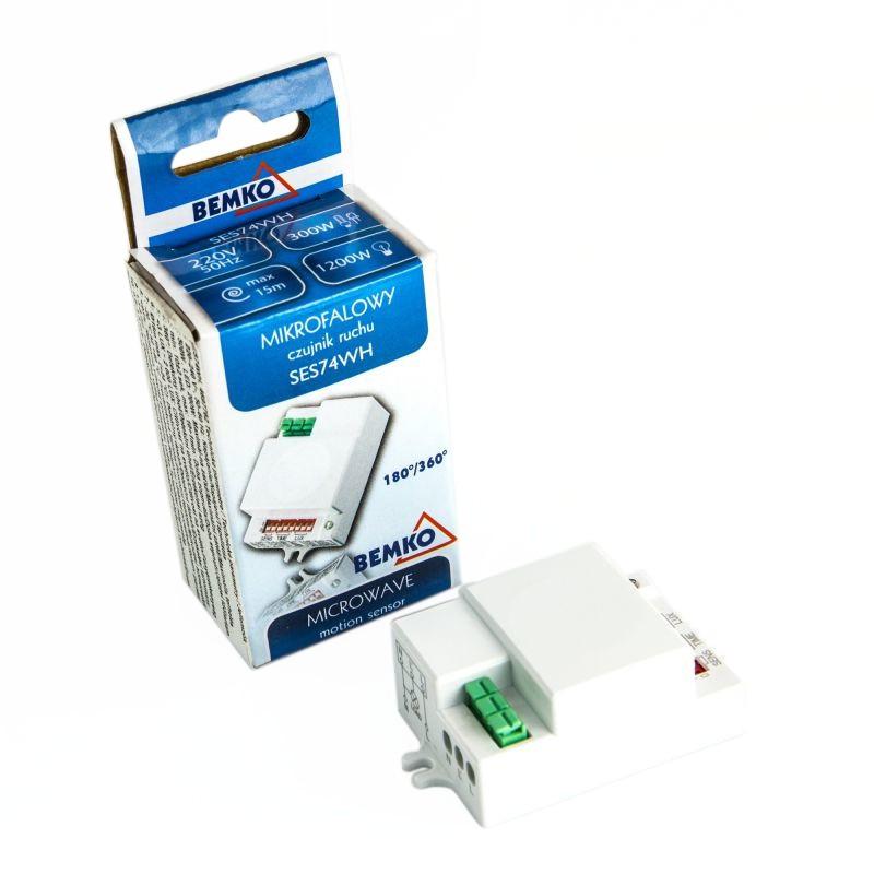 Czujniki-ruchu - biały czujnik ruchu mikrofalowy 1200w ses74wh bemko firmy BEMKO