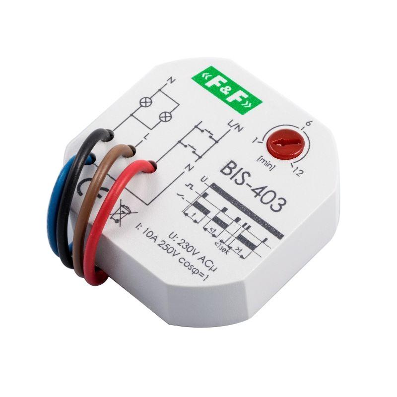 Przekazniki-bistabilne - bis-403 przekaźnik bistabilny z wyłącznikiem czasowym 230v 10a dopuszkowy firmy F&F